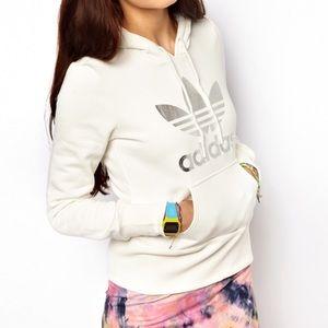 Adidas Silver Trefoil Hoodie